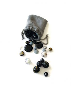 1 Grey Linen Bag and 60 Marbles