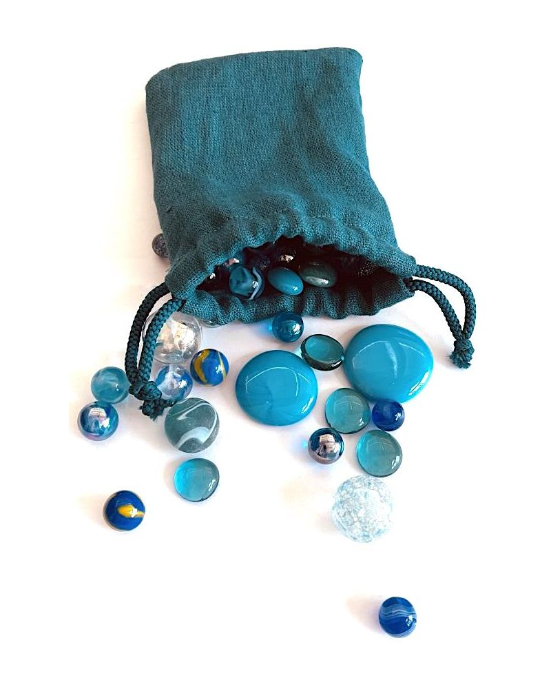1 Blue Linen Bag and 60 Marbles